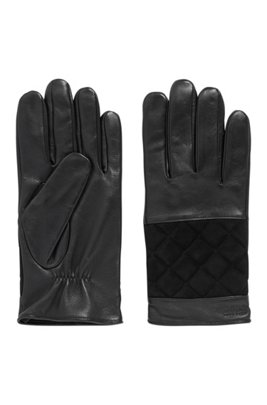Logo gloves in suede and nappa leather, Black