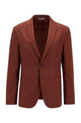 Veste Slim Fit en laine vierge chinée, Orange clair
