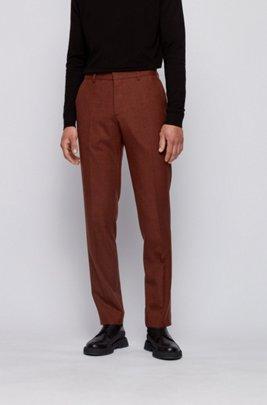 Pantalon Slim Fit en laine vierge chinée lavable, Orange clair