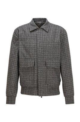 Slim-fit blouson-style jacket in checked virgin wool, Grey