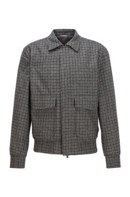Slim-Fit Jacke aus karierter Schurwolle im Blouson-Stil, Grau