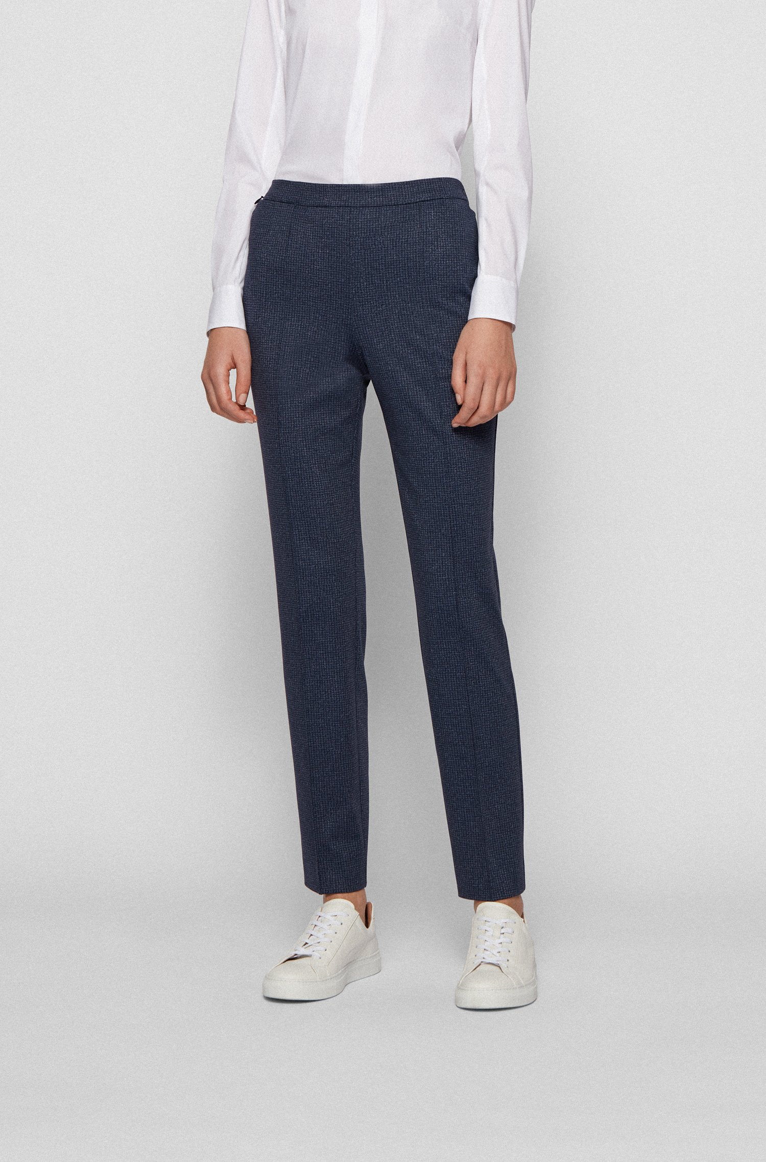 Regular-fit trousers in printed Japanese jersey, Patterned