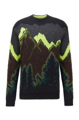 Relaxed-fit trui met jacquardgeweven landschapsdessin, Zwart