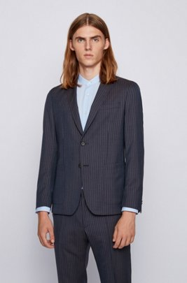 Slim-fit jacket in striped virgin wool, Dark Blue