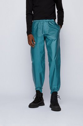 Relaxed-fit trousers with adjustable logo-tape waistband, Green