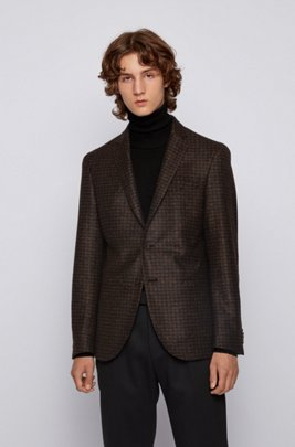 Slim-fit jacket in melange jersey, Dark Brown