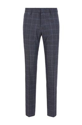 Slim-fit trousers in checked virgin wool, Dark Blue