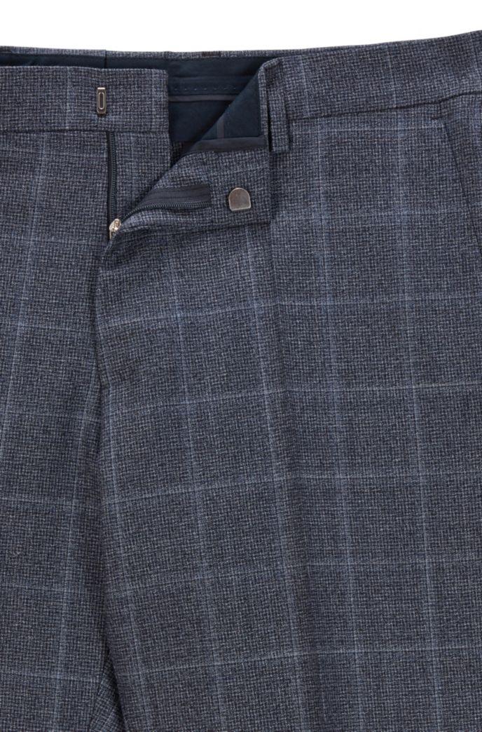 Slim-fit broek van geruite scheerwol