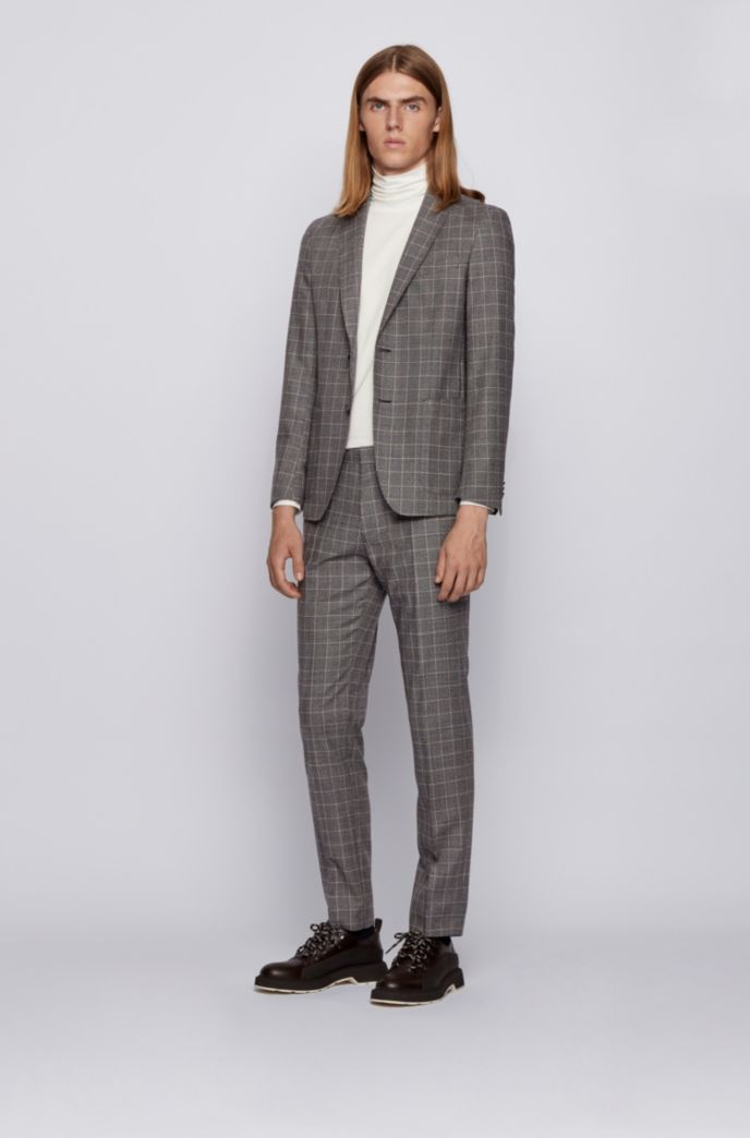 Slim-fit jacket in checked virgin wool