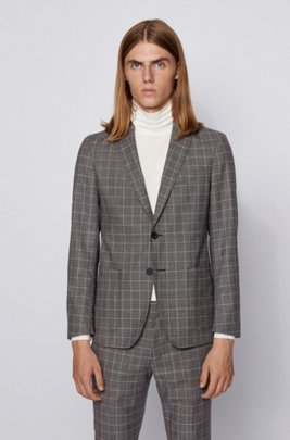 Slim-fit jacket in checked virgin wool, Black