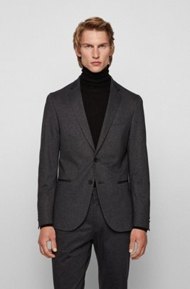 Slim-fit jacket in pepita fabric with soft construction, Light Grey