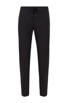 Slim-fit trousers in patterned stretch fabric, Light Grey