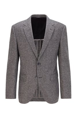 Regular-fit jacket in a tweed wool blend, Grey