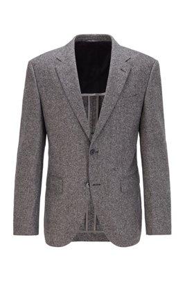 Chaqueta regular fit en tweed de mezcla de lana, Gris
