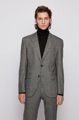 Veste Regular Fit en tweed de laine mélangée, Gris