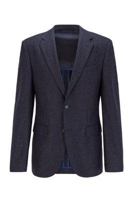 Regular-fit jacket in a tweed wool blend, Dark Blue