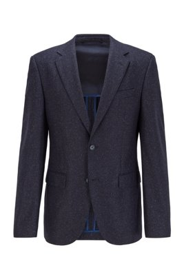 Regular-Fit Sakko aus Tweed, Dunkelblau