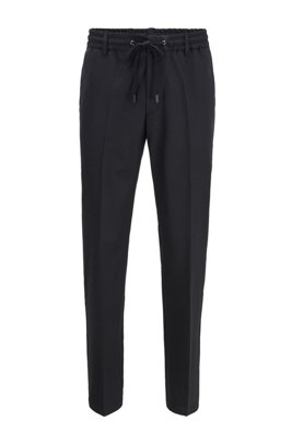Slim-fit trousers with drawstring waist and signature trims, Black