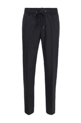 Pantalon Slim Fit avec taille à cordon de serrage et finitions emblématiques, Noir