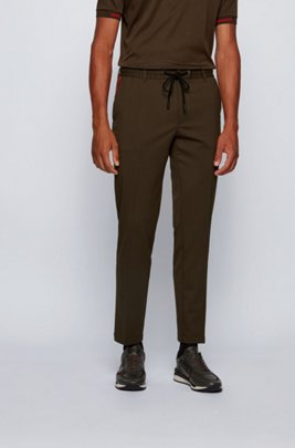 Slim-fit trousers with drawstring waist and signature trims, Light Green
