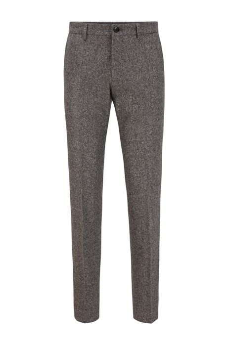Slim-fit trousers in a melange wool blend, Grey