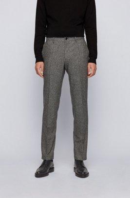 Melierte Slim-Fit Hose aus elastischem Schurwoll-Mix mit Seide, Grau