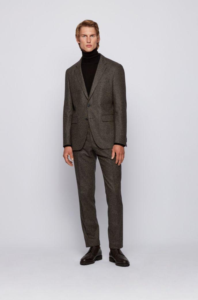 Slim-fit trousers in a melange wool blend