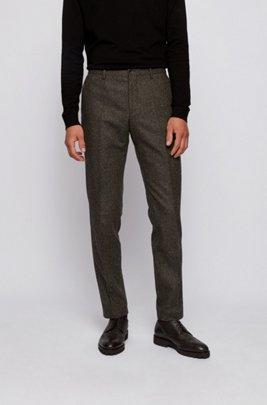 Slim-fit trousers in a melange wool blend, Light Green