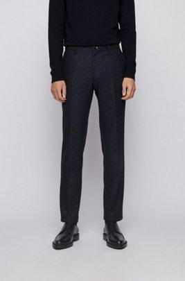 Slim-fit trousers in a melange wool blend, Dark Blue