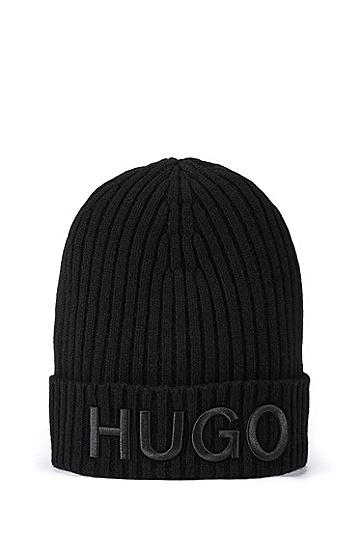 徽标徽章的针织毛线帽,  001_黑色
