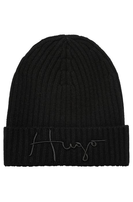 Unisex wool beanie hat with logo embroidery, Black