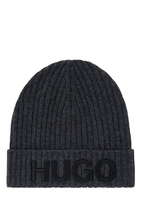 Unisex wool beanie hat with logo embroidery, Dark Grey