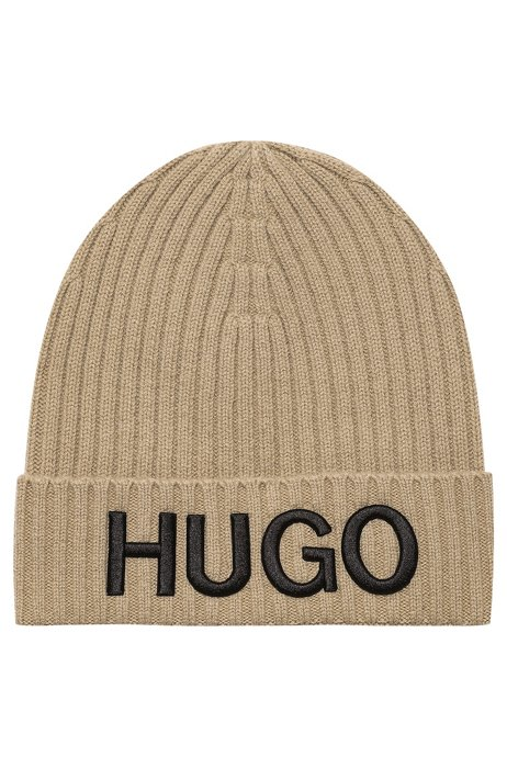 Unisex wool beanie hat with logo embroidery, Beige