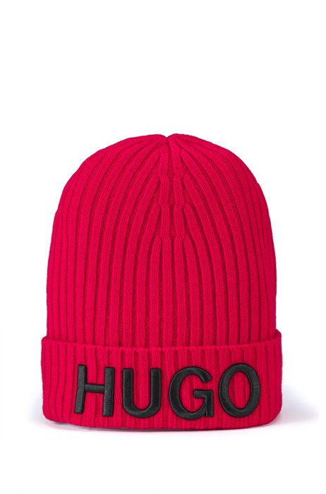 Unisex wool beanie hat with logo embroidery, light pink