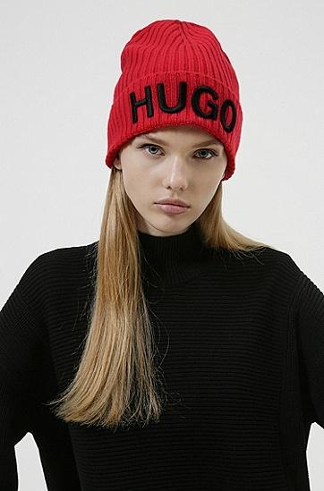 徽标刺绣装饰中性羊毛毛线帽,  693_Open Pink