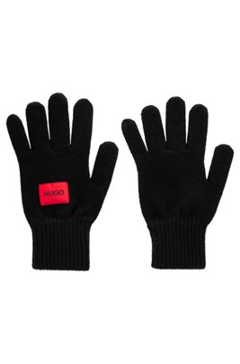 Logo gloves in a virgin-wool blend, Black