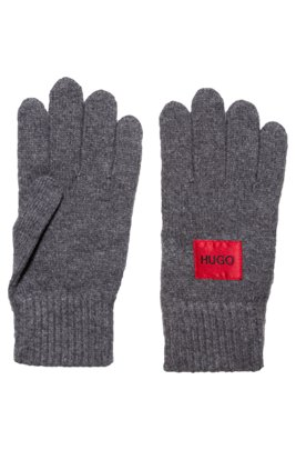 Logo gloves in a virgin-wool blend, Dark Grey