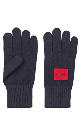 Logo gloves in a virgin-wool blend, Dark Blue