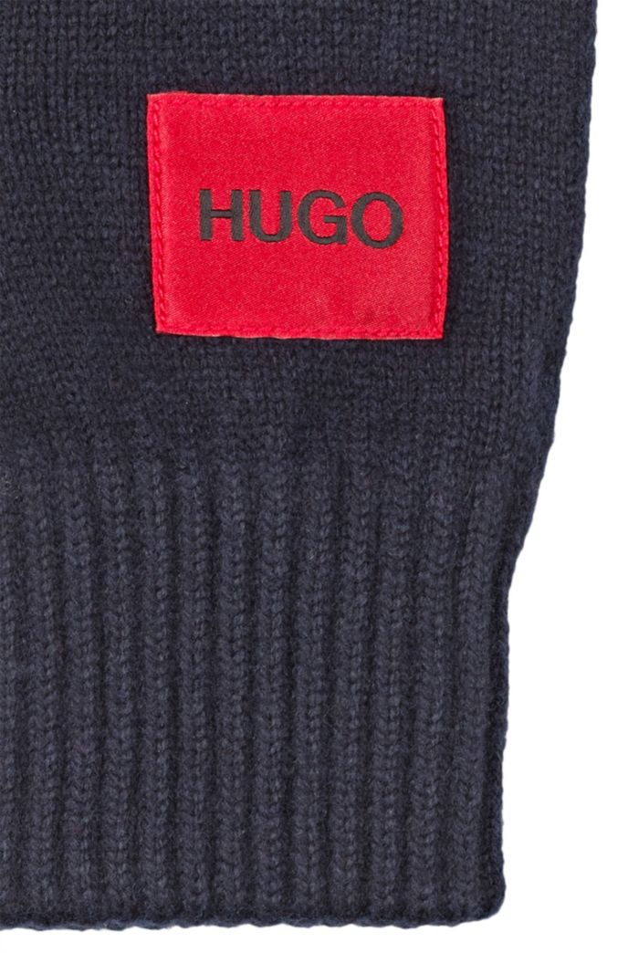 Logo gloves in a virgin-wool blend