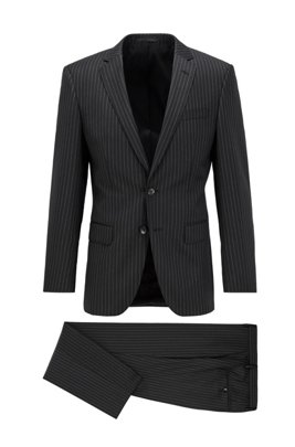 Slim-fit suit in striped wool with natural stretch, Black