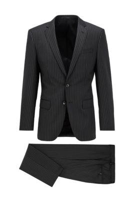 Costume Slim Fit en laine naturellement stretch à rayures, Noir