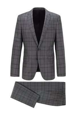 Slim-fit suit in checked virgin wool, Grey