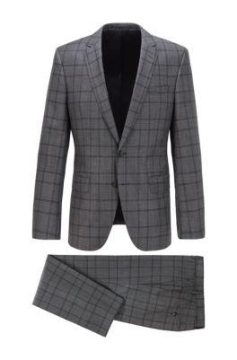 Slim-fit suit in checked virgin wool, Grey