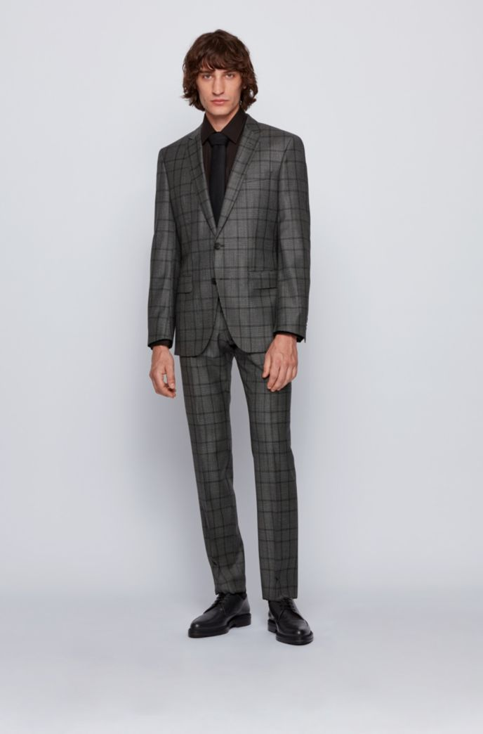 Slim-fit suit in checked virgin wool