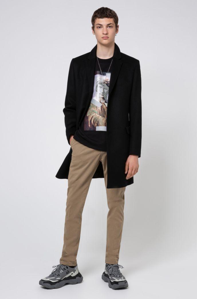 Slim-fit coat in a virgin-wool blend