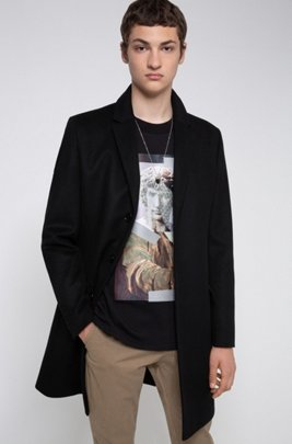 Slim-fit coat in a virgin-wool blend, Black