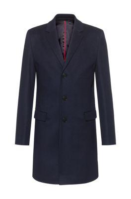 Slim-fit coat in a virgin-wool blend, Dark Blue