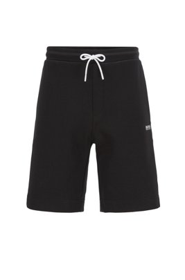 Drawstring-waist shorts with contrast details, Black