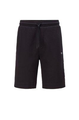 Short avec taille à cordon de serrage et détails contrastants, Noir