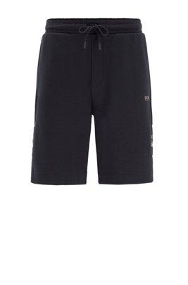 Short avec taille à cordon de serrage et détails contrastants, Bleu foncé
